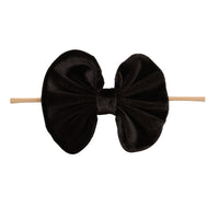 Velvet Bow on Skinny Nylon Headband Black 1