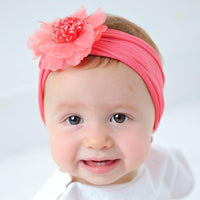 Nylon FLOWER Headwraps CORAL 9