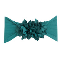 Duo Flower Nylon Headwrap Forest Green 32