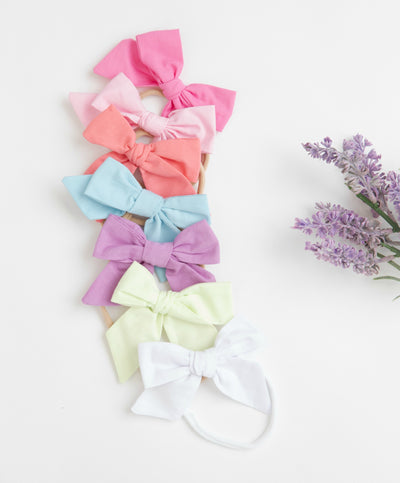 Ally Small Hand Tied BOWS Nylon Headbands 28 Colors