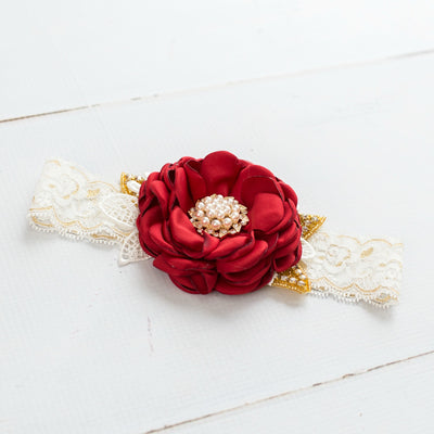 Felicity Red Flower Lace Headband