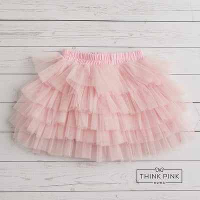 Strawberry Cream Shortcake Tiered Tulle Skirt