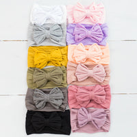 Rolled Bow on Nylon Headwrap -21 colors