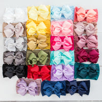 Layered Grosgrain BOW Nylon Headwraps - 27 Colors
