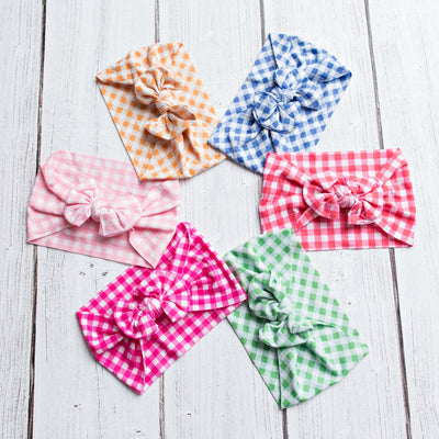 Checkered Knot Nylon Headwraps- 6 colors