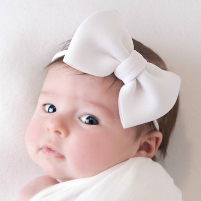 PUFF Bow Nylon Headband White 20