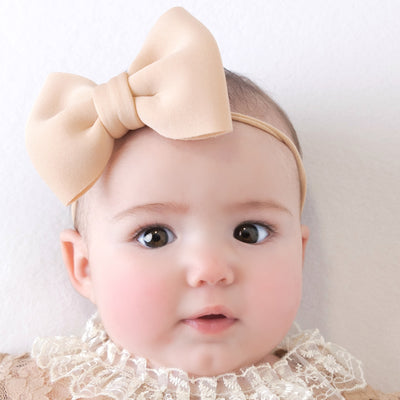 PUFF Bow Nylon Headband Beige 16