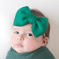 PUFF Bow Nylon Headband Forest Green 6