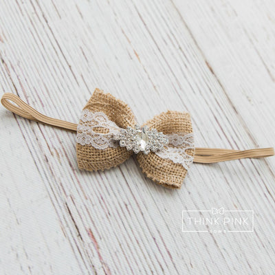 Love Letters Burlap Bow Headband