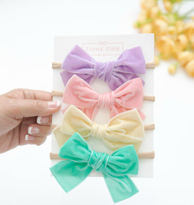 Light Weight Velvet  Bows on Skinny Nylon Headband 21 Colors Available