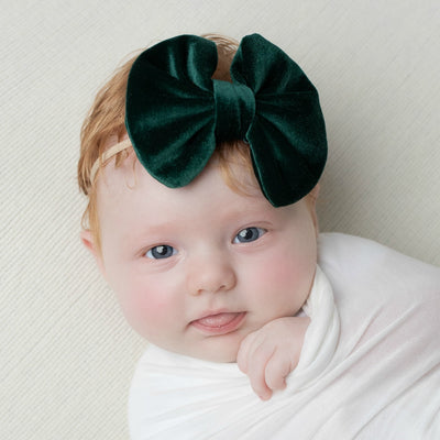 Velvet Bow on Skinny Nylon Headband 4 Green