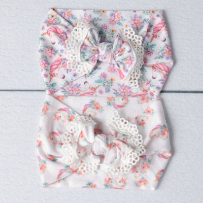 Unicorn Lace Trim Nylon Headwrap 2 Styles