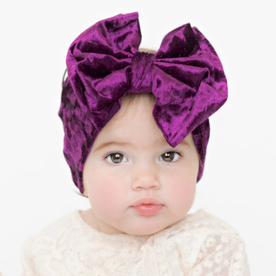 Double Bow Velvet Headwraps Eggplant 60