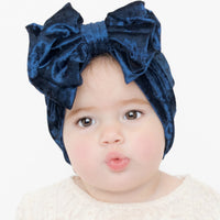 Double Bow Velvet Headwraps Navy 25
