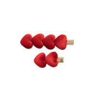 Heart Velvet CLIP SET of 2 RED