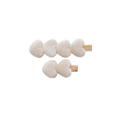 Heart Velvet CLIP SET of 2 IVORY