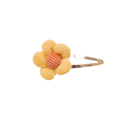 PUFF FLOWER SNAP Hair Clip  CORDUROY YELLOW