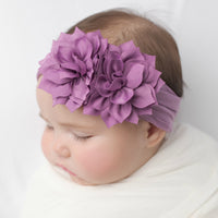 Duo Flower Nylon Headwrap Deep Purple 14