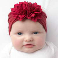 Duo Flower Nylon Headwrap Ruby 40