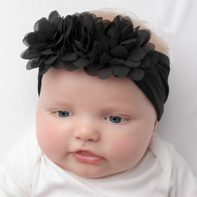 Flower Trio Nylon Headwrap BLACK 26