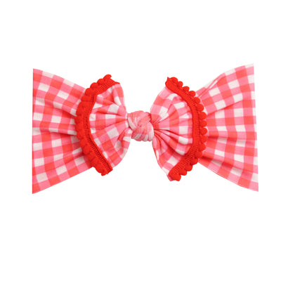 Pom Pom Nylon Checkered Headwraps- RED