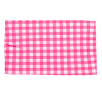 Lace Trim Nylon Headwrap Checkered Hot Pink