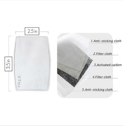 Air Filter Inserts for Cloth Mask Carbon Activated  SMALL