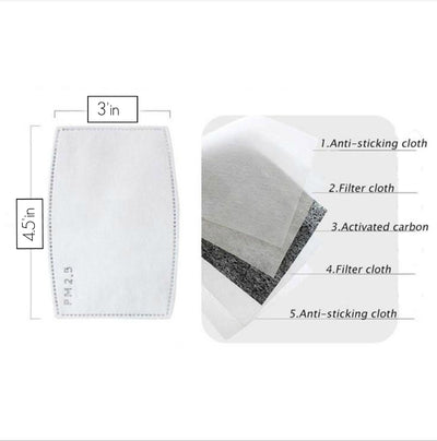 Air Filter Inserts for Cloth Mask Carbon Activated  LARGE