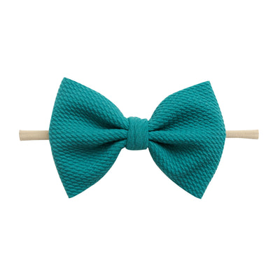 Lulu Bow Nylon Headbands Turquoise 23