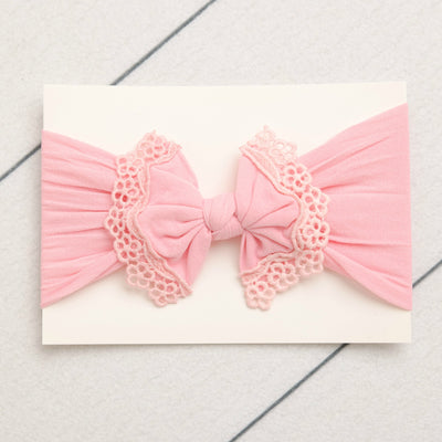 Lace Trim Nylon Headwrap Pink 4