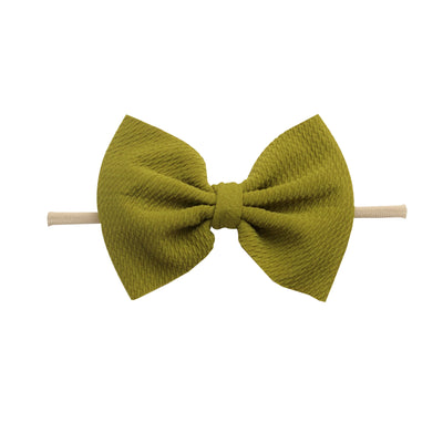 Lulu Bow Nylon Headbands Olive 25