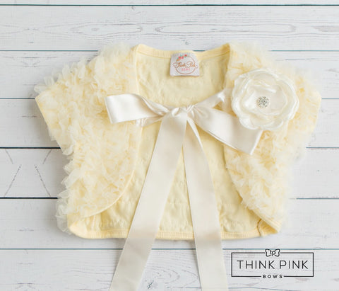 Make a Wish Cream Ruffled Chiffon Capelet - Think Pink Bows