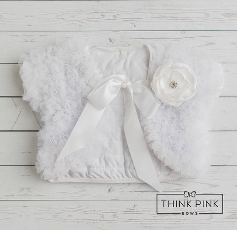 Make a Wish White Ruffled Chiffon Capelet - Think Pink Bows