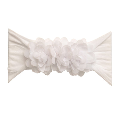 Flower Trio Nylon Headwrap WHITE 20