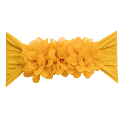 Flower Trio Nylon Headwrap MUSTARD 36