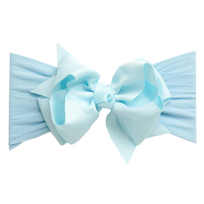 Layered Grosgrain BOW Nylon Headwraps - BLUE 1