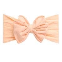 Rolled Bow on Nylon Headwrap PEACH 6