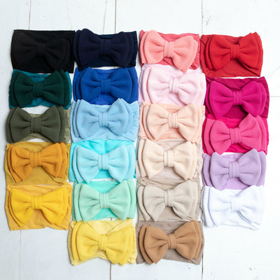 ALEXA DOUBLE BOW on NYLON  Headwraps - 22 Colors