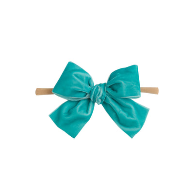 Light Weight Velvet  Bows on Skinny Nylon Headband Caribbean Blue
