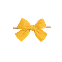 Light Weight Velvet  Bows on Skinny Nylon Headband Sunflower