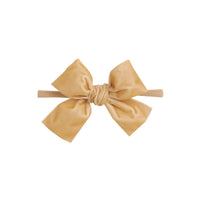 Light Weight Velvet  Bows on Skinny Nylon Headband Champagne