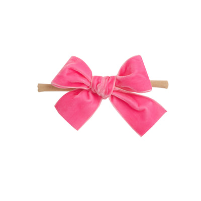 Light Weight Velvet  Bows on Skinny Nylon Headband Bubblegum