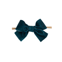 Light Weight Velvet  Bows on Skinny Nylon Headband Capri Blue