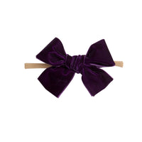 Light Weight Velvet  Bows on Skinny Nylon Headband Sugarplum