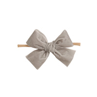 Light Weight Velvet  Bows on Skinny Nylon Headband Silver