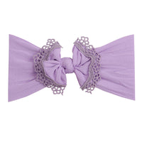 Lace Trim Nylon Headwrap Lavender 2