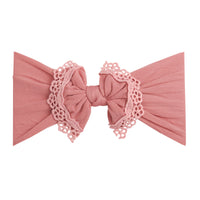 Lace Trim Nylon Headwrap Dusty Rose 13