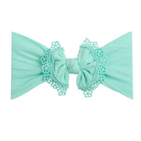 Lace Trim Nylon Headwrap Aqua 3