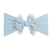 Lace Trim Nylon Headwrap Blue 1