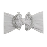 Lace Trim Nylon Headwrap Pearl Grey 10